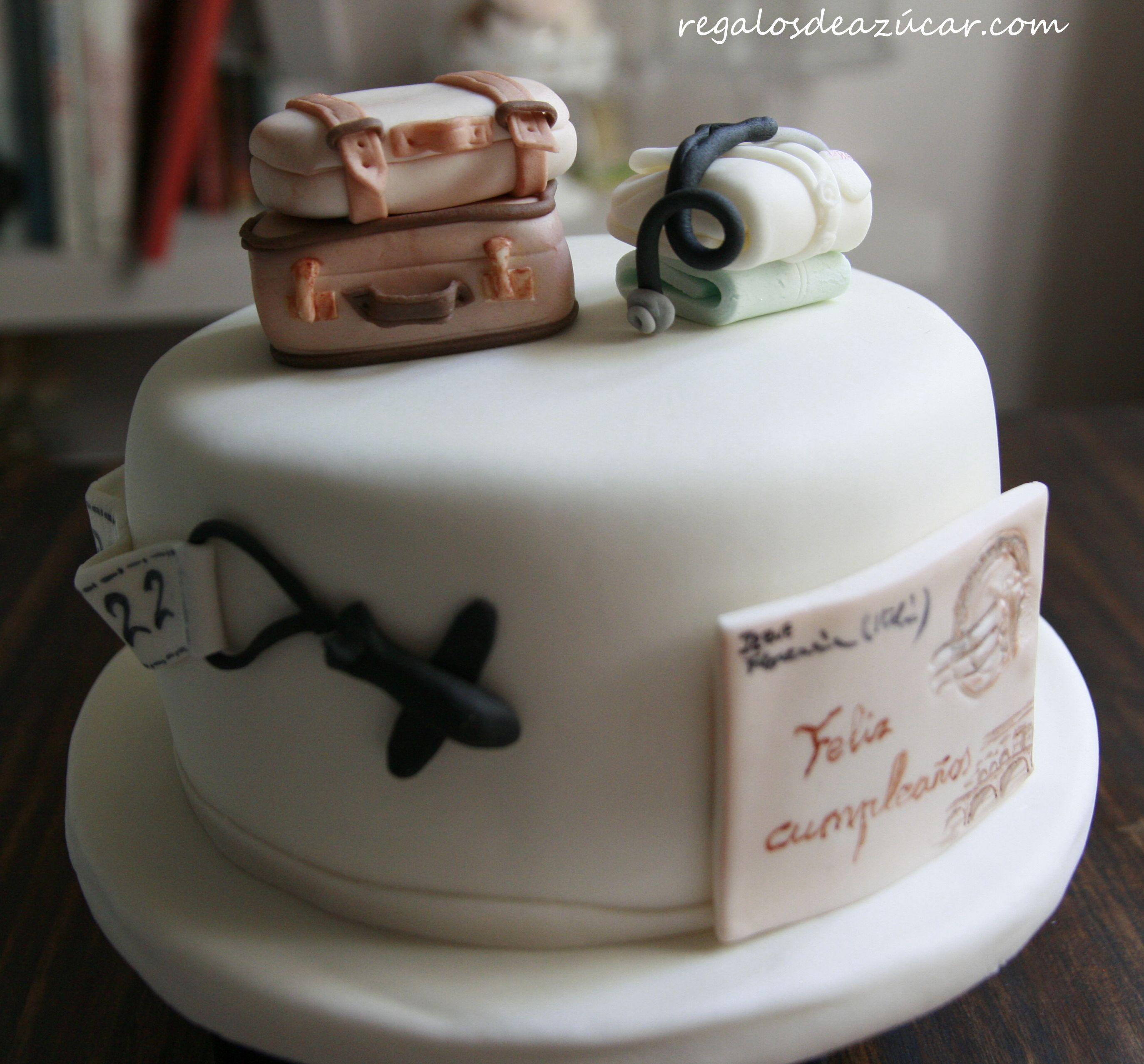 Tarta viajera en fondant Travel fondant cake http
