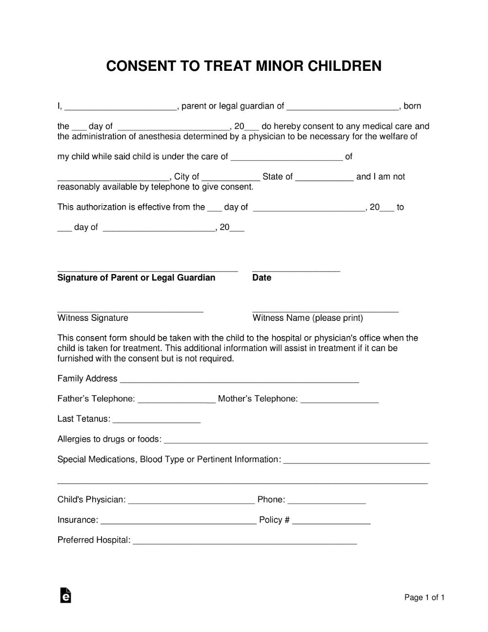 Free Minor Child Medical Consent Form Word Pdf Eforms Free Fillable Forms Children S Medical Consent Forms Medical Consent Form Children