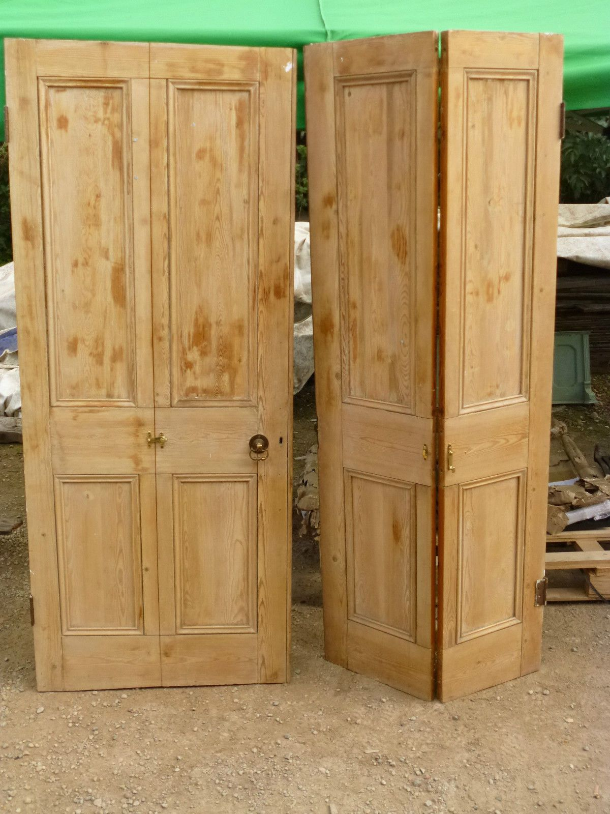 Set of 4 Victorian stripped pine folding doors | Pine, Victorian and ...