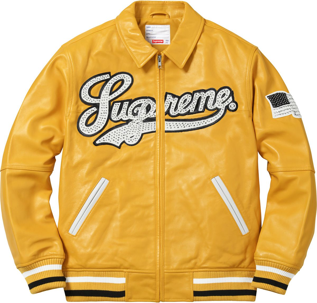Supreme Uptown Studded Leather Varsity Jacket Leren jas
