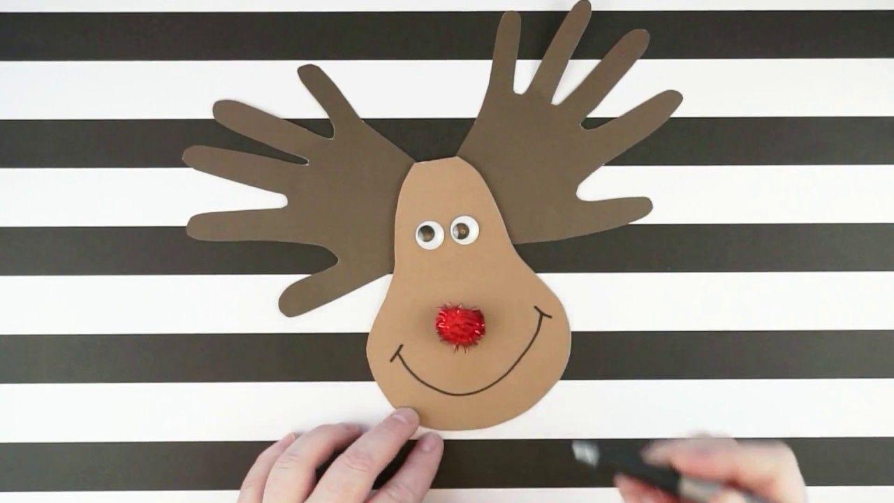 handprint reindeer christmas card kid craft  Поделки