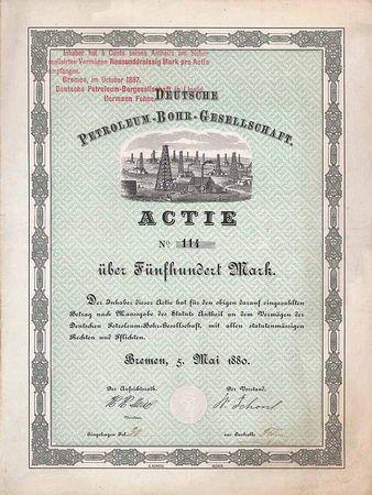 Deutsche PetroleumBohrGesellschaft Actie 500 Mark 5.5