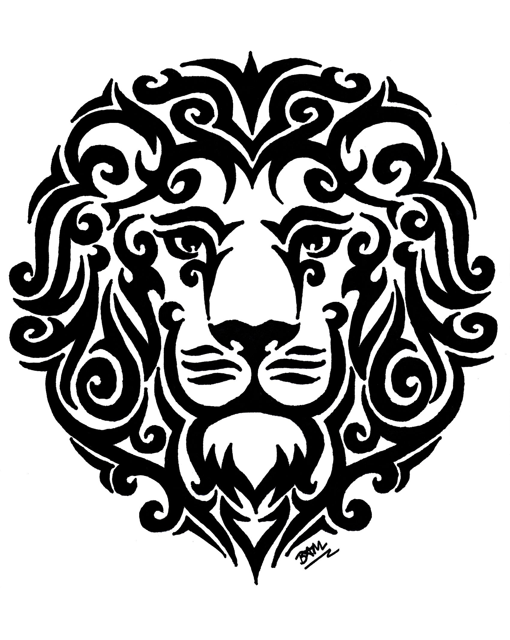 [Tribal Lion] This drawing is available for purchase on
