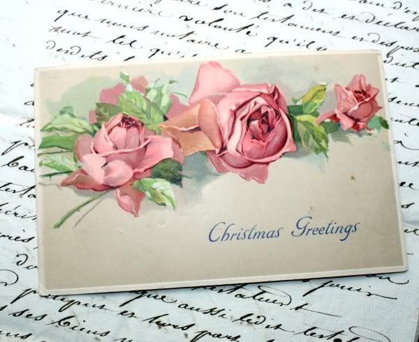 Antique Pink Roses Christmas Klein Postcard