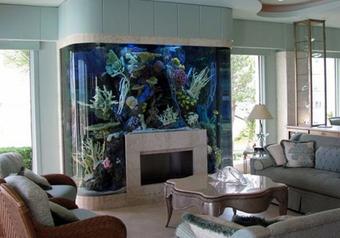 Fish Tank Design Above Fireplace Mantel Decoration Living Room Interior