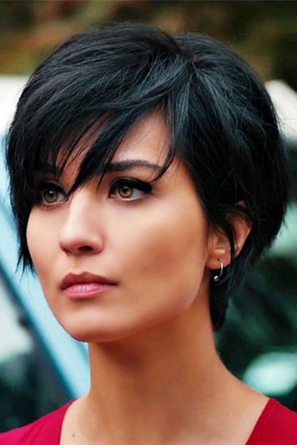 Layered Natural Black Pixie Short Messy Synthetic Hair ...