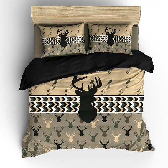Custom Personalized Camo Colors Deer Head Antler Bedding Set Available Twin Twxl Full Queen King Size Shown Camo Colors Queen Bedding Sets Bedding Sets King Bedding Sets