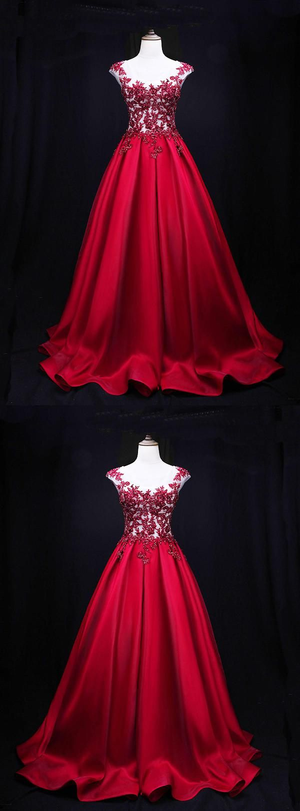 Red lace open back red lace qprom in prom dresses