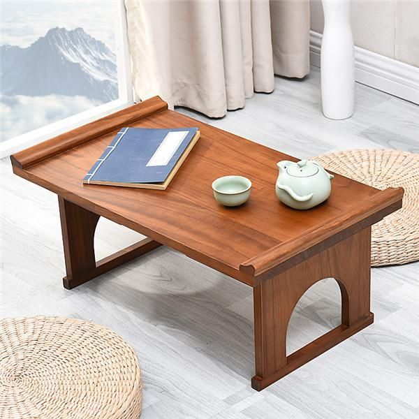 Korean Dining Table Folding Living Room Furniture Antique Foldable Tea Table  Traditional Oriental Design Rectangle Wood