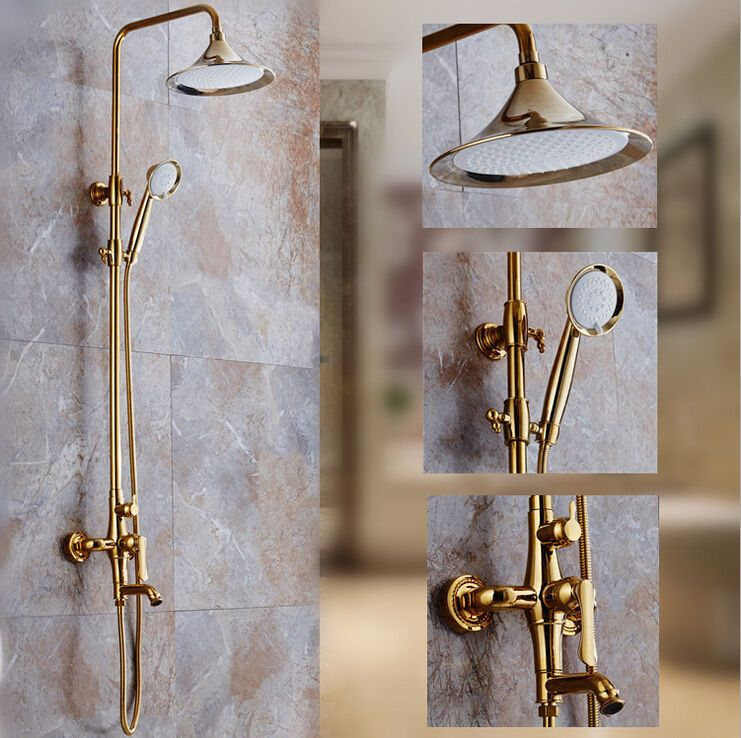 European Gold Bath Shower Mixer Tap Brass Exposed Shower Head SetsEuropean Gold Bath Shower Mixer Tap Brass Exposed Shower Head Sets  . Gold Bathroom Taps Ebay. Home Design Ideas