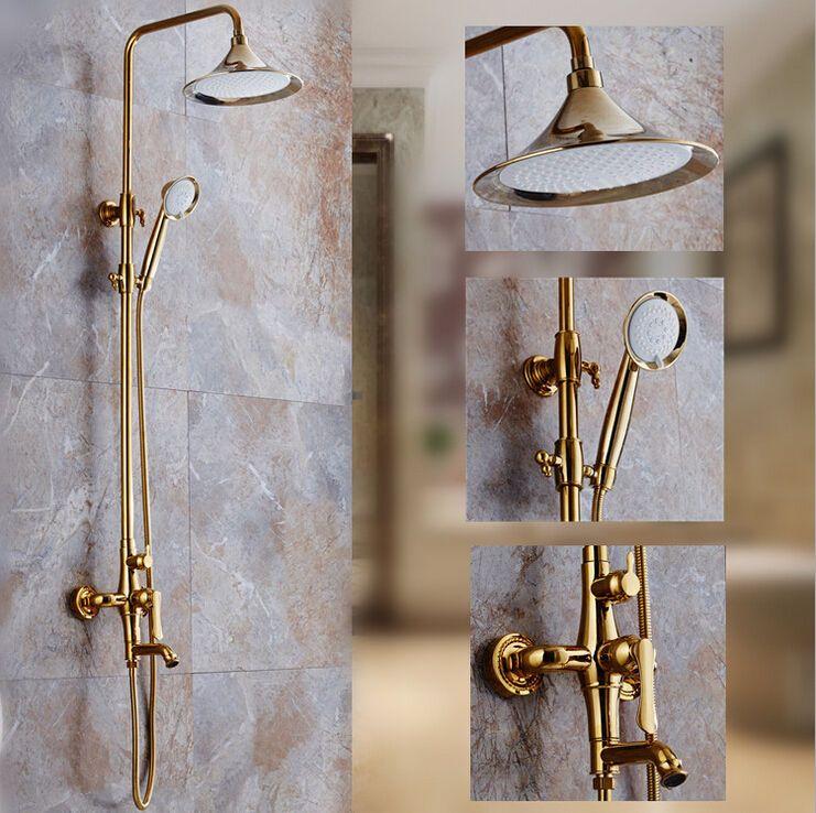 European Gold Bath Shower Mixer Tap Brass Exposed Shower Head Sets ...