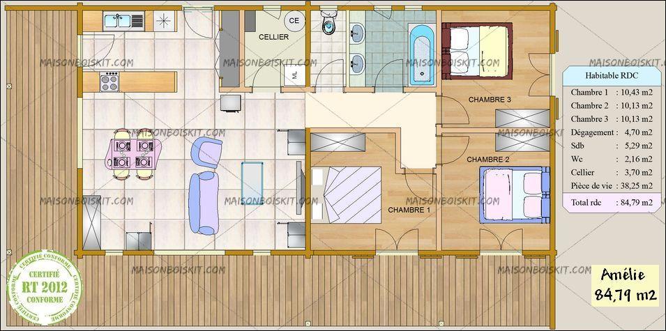 prix petite maison bois moderne 3 chambres maisons Pinterest