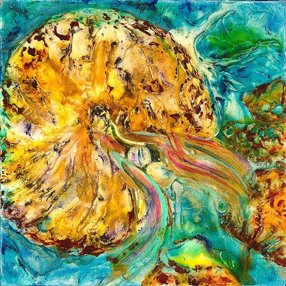 Nautilus - Underwater Coral Reef Art Print, Seascape Art ...
