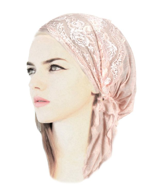 Champagne Pink Head Scarf Soft Cotton Floral Lace Pre-Tied Head Scarf Boho Chic Bandana Tichel Hair Snood Chemo Hat Cap ShariRose - 334 #tieheadscarves