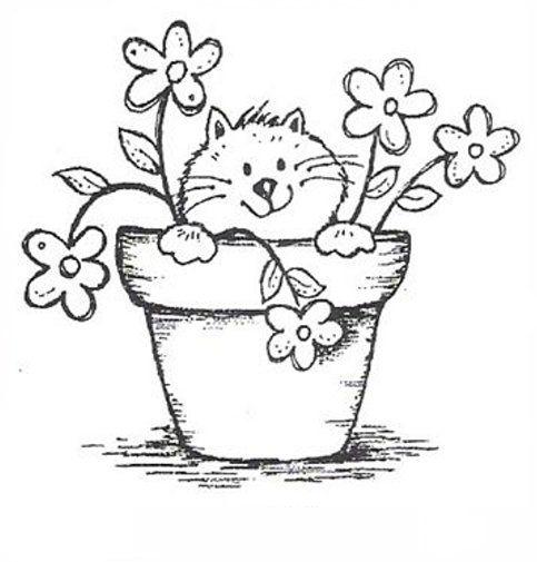 Gatinho Em Vaso De Flores Desenhos Para Colorir Menino Desenhos
