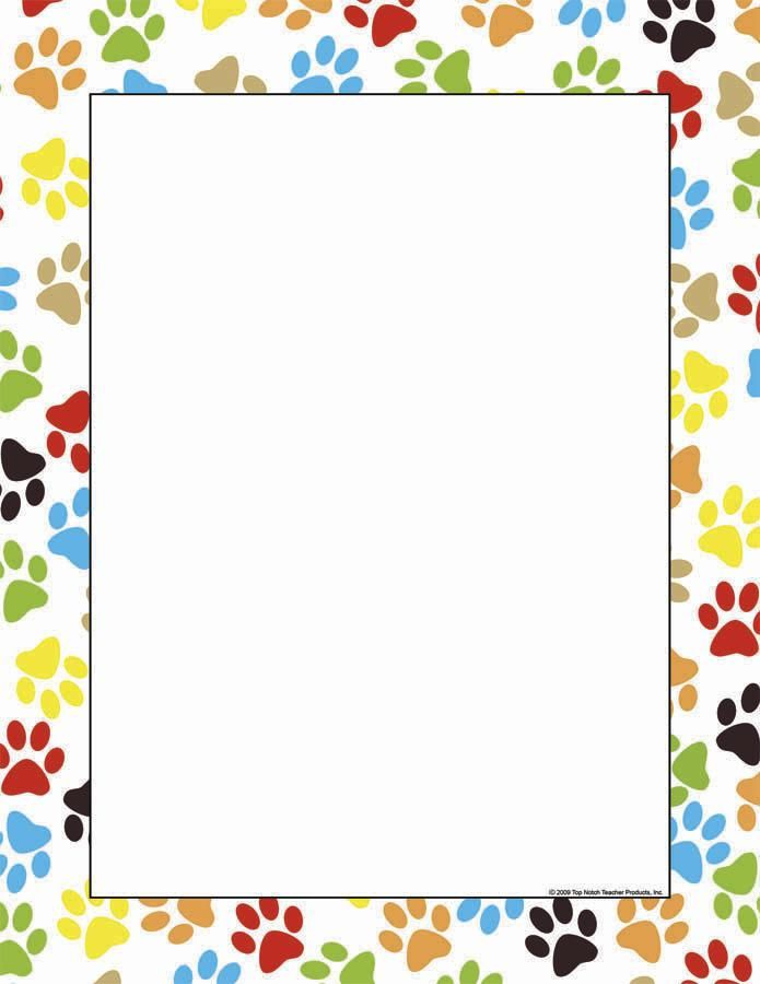 paw print border Paw Print Computer Paper doggie Borders for