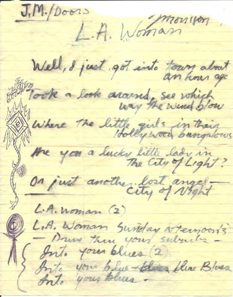 Musicians Handwritten Lyrics To Famous Songs Jim Morrison The Doors Jim Morrison Morrison