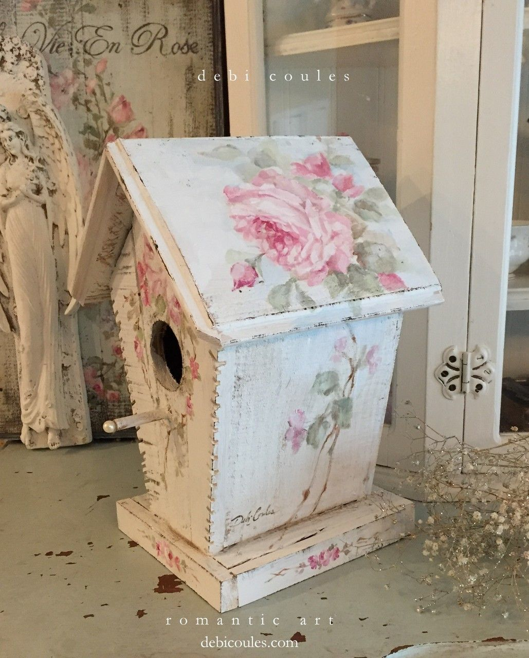 Shabby Cottage Chic Vintage Style Roses Birdhouse With