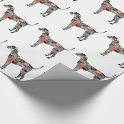 Plott Hound Geometric Pattern Silhouette Plaid Wrapping Paper | Zazzle.com