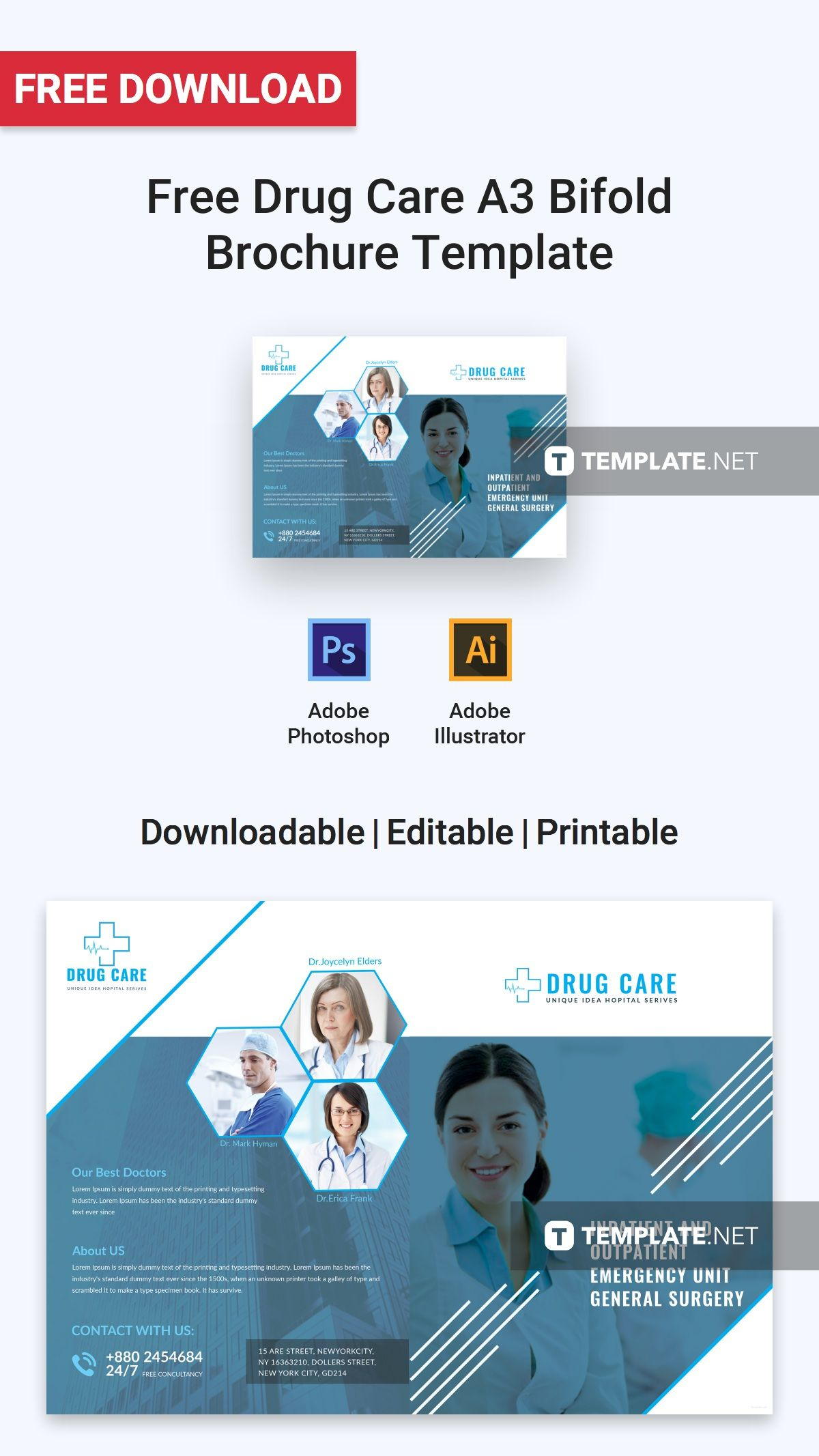 Free Drug Care A3 Bifold Brochure Free Brochure Templates