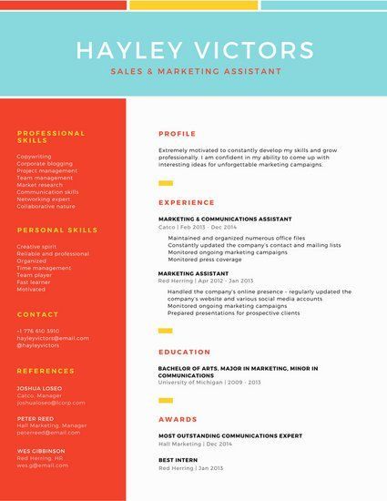 Colorful Grid Two Column Modern Resume