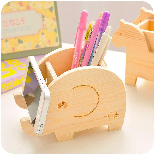 Madera organizador de escritorio de la pluma creativa de - Articulos de madera para manualidades ...