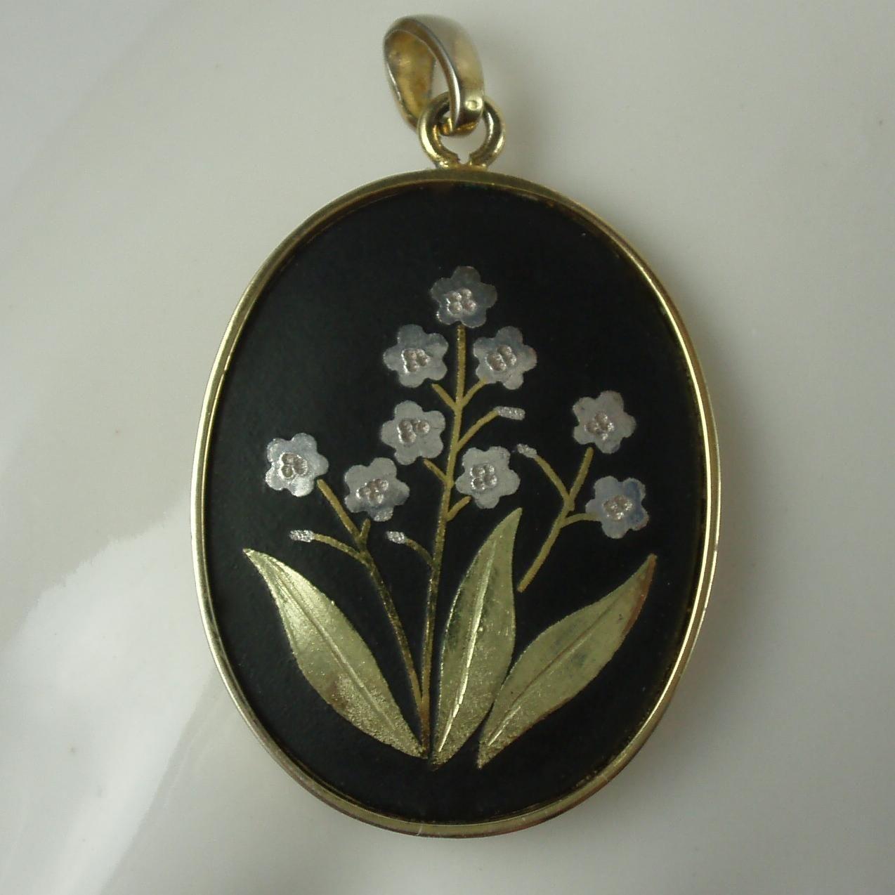 Vintage japanese damascene pendant signed amita japanese pendants vintage japanese damascene pendant signed amita mozeypictures Images