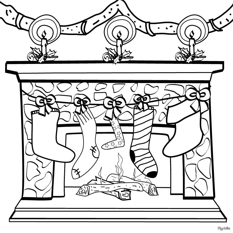 Free Christmas Stockings And Decoration Coloring Page