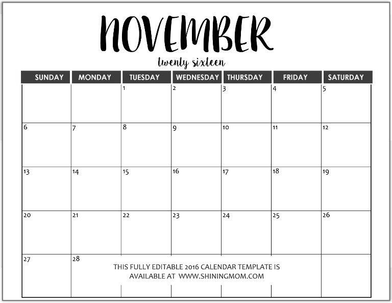 Just In Fully Editable 2016 Calendar Templates In Ms Word November 2018 Calendar Word Free Printable Fully Editable 2017 Calendar Templates In 14 Printable Cale