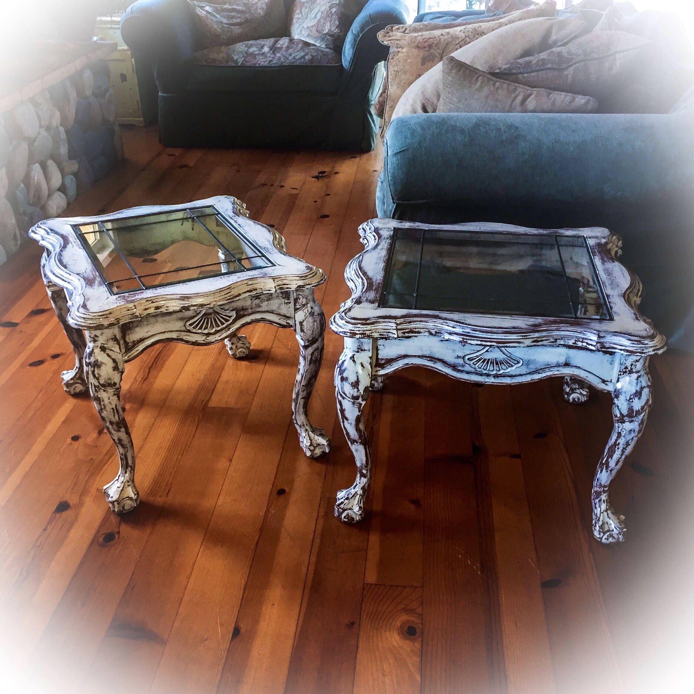 2 piece farmhouse antique end tables matching set shabby french provincial 2 piece farmhouse antique end tables matching set shabby chic geotapseo Gallery