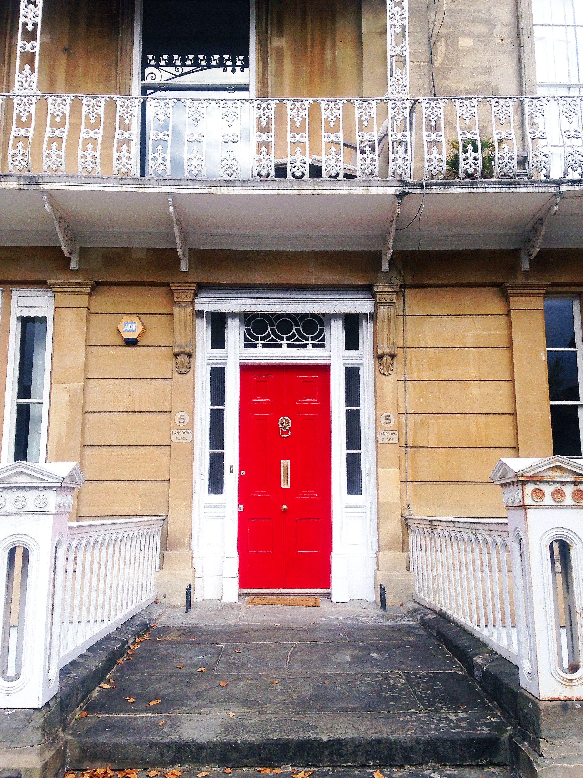 A festive red painted door in Clifton Village Bristol #painteddoor #colourfuldoor & Beautiful Bristol: Colourful Bristol Doors | Bristol