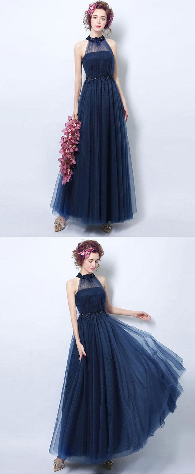 Simple blue tulle tea long prom dress blue evening dress blue