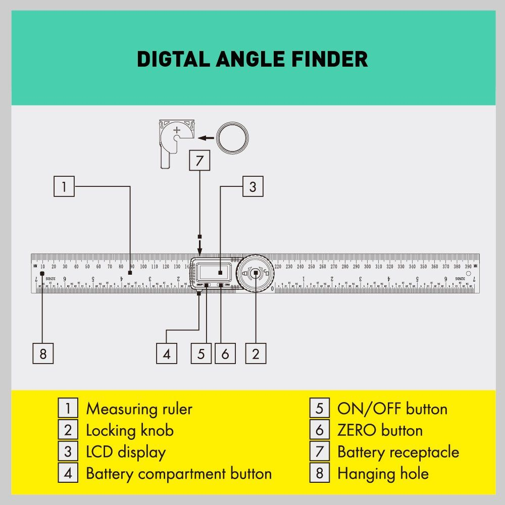 Horusdy Digital Angle Finder Ruler7 Inch Digital Protractor 200mm Stainless Steel Angle Gauge Best Unique Tool Stainless Steel Angle Angle Finders Protractor