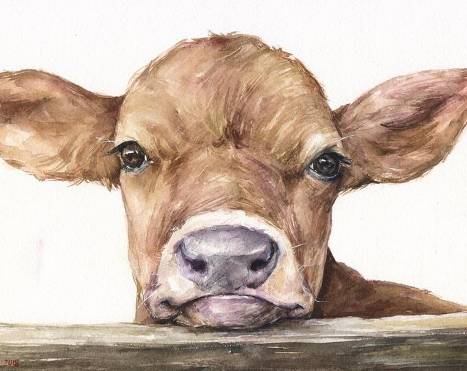Watercolor Pig Print, Pig Sign, Watercolor Farm Animals, Most Sold Items, Cute Pig, Pink watercolor