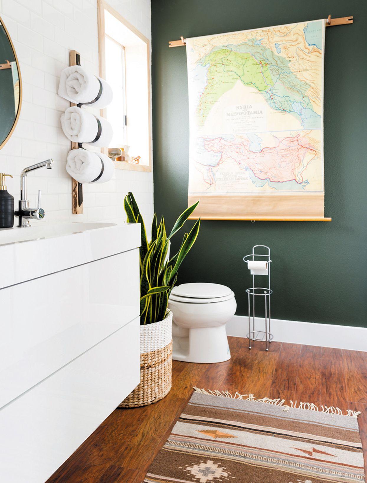 Green Bathroom Black Mirror White Hamper Gold Stool Gold Wall Sconce Green Bathroom Black And White Tiles Bathroom Green Tile Bathroom