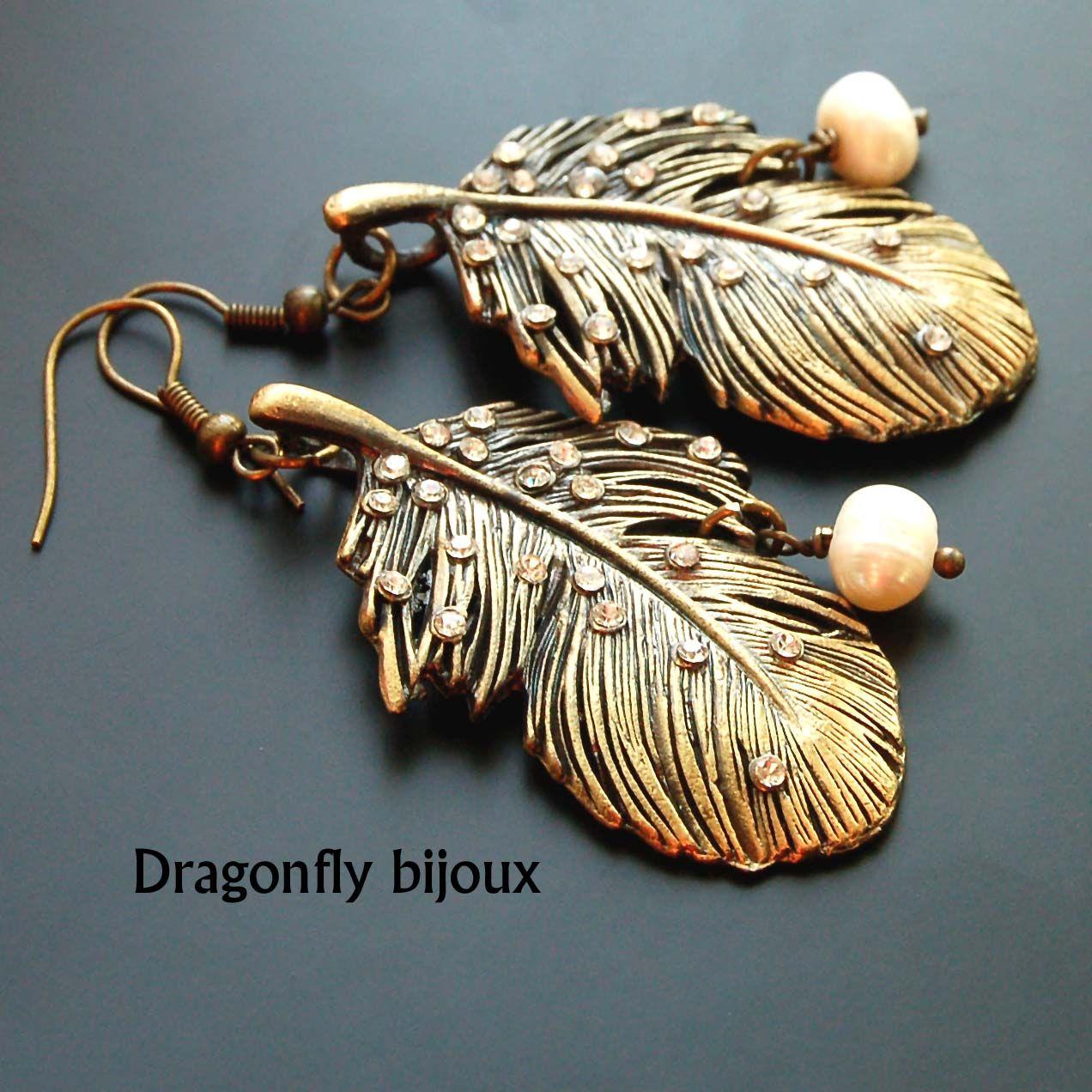 vintage handmade earrings feathers