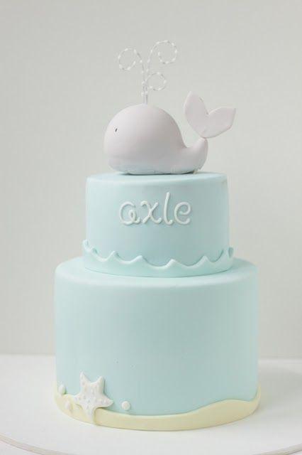 whale christening cake