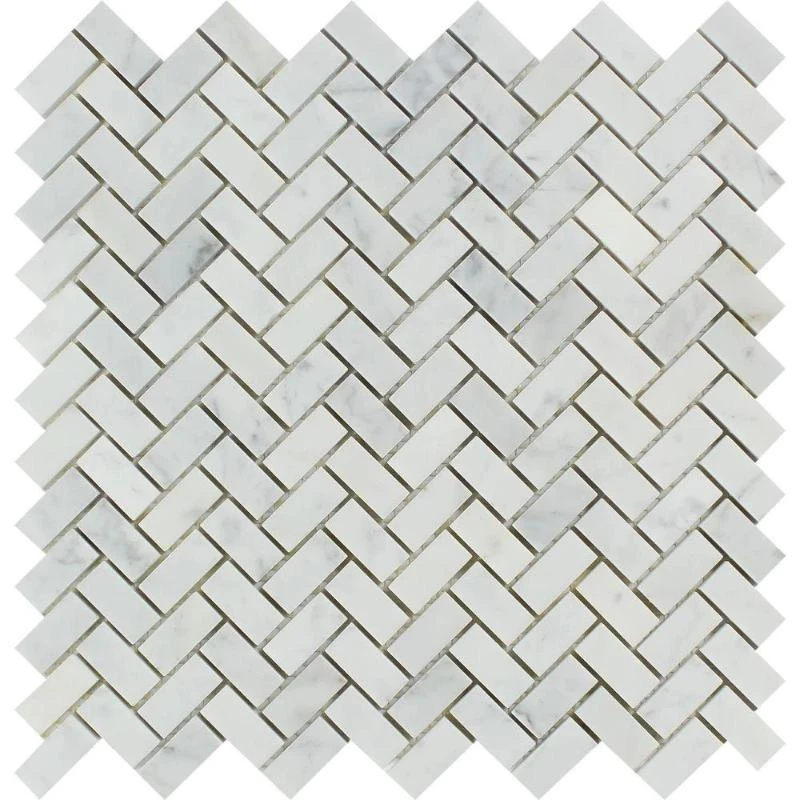 White Carrara Marble 5 8x1 1 4 Herringbone Honed Mosaic Tile In 2020 Mosaic Tiles Carrara Marble Colorful Tile Floor
