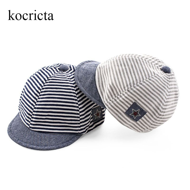 353c9fe663d Baby cotton baseball cap for toddler kids striped star pattern flat hats  summer autumn infant boys