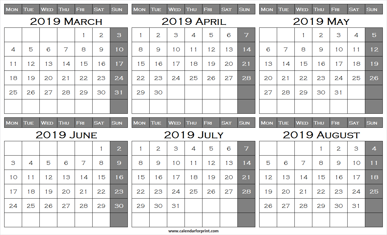 March April May June July August 2019 Calendar   March 2019