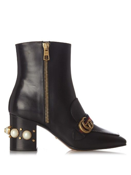 ea4bbd09536 Gucci Peyton faux-pearl embellished leather boots