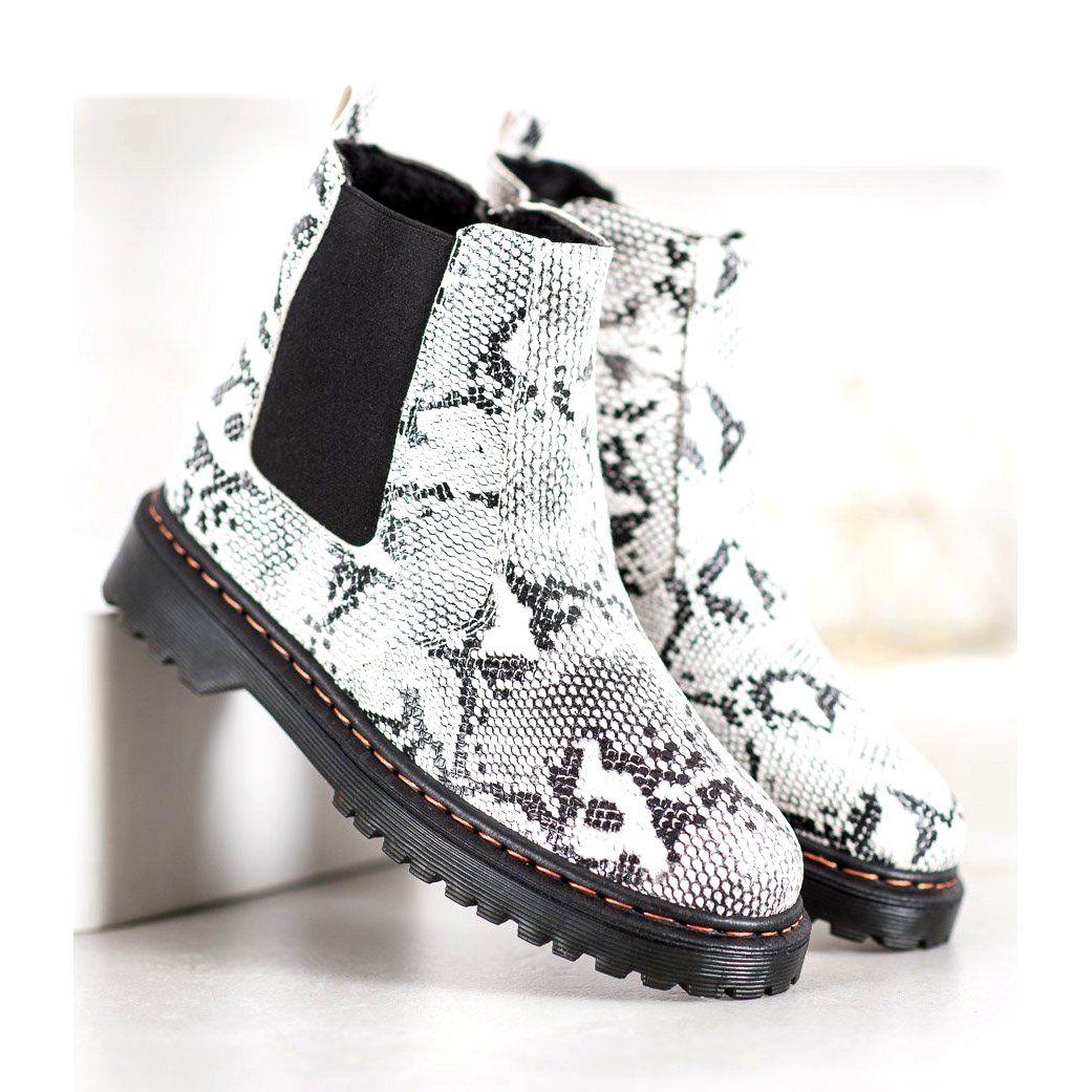 Shelovet Sztyblety Na Platformie Biale Czarne Boots Combat Boots Types Of Heels