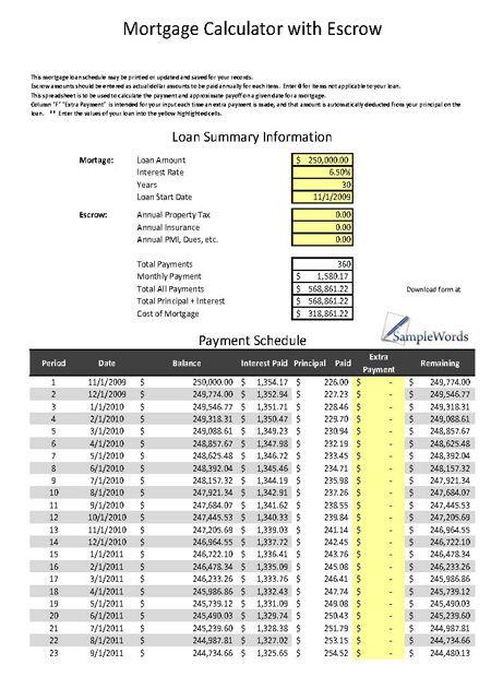 Mortgage Calculator With Escrow Excel Spreadsheet Mortgage Amortization Calculator Mortgage Calculator Mortgage Loan Calculator