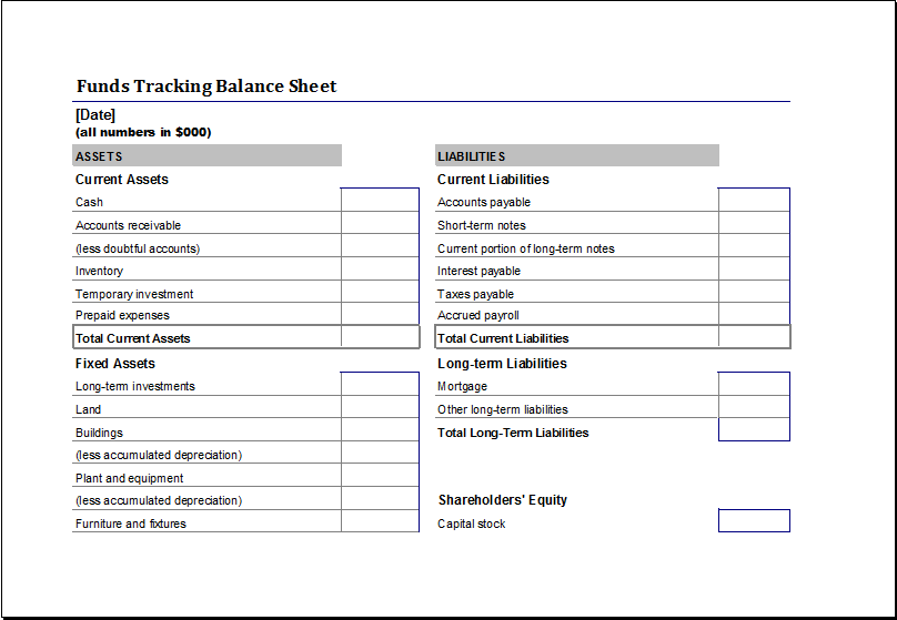 Funds Tracking Balance Sheet Download At HttpWwwXltemplates