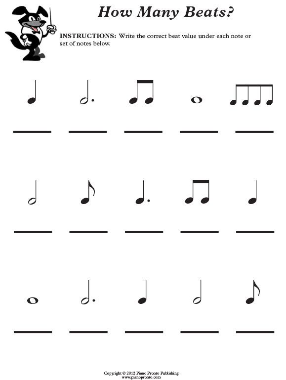 Free Music Theory Worksheet Piano Pronto Rhythm