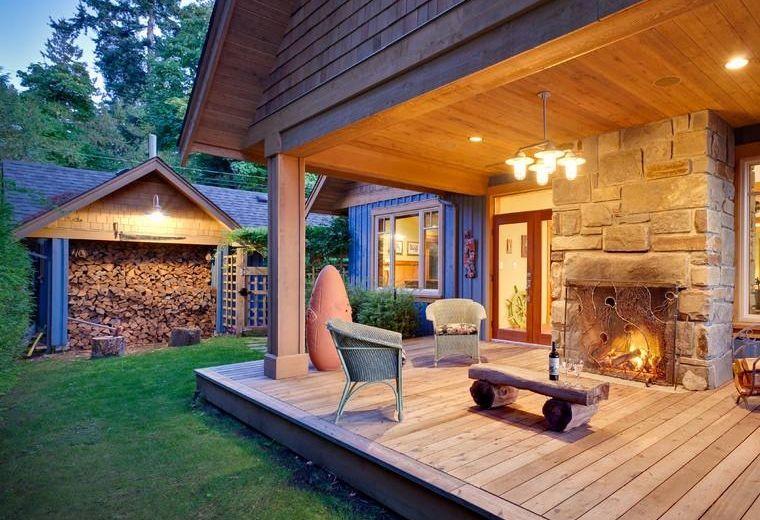 casa campo porche madera Casas de campo modernas Pinterest Log