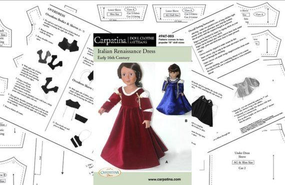 Italian Renaissance Dress and Chemise, Period Doll Clothes Pattern ...