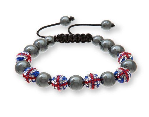10mm Alternating UK Flag Crystal and Hematite Beads Olympic-Themed Macrame Bracelet Beaux Bijoux. $25.99. Gift box included. Can be delivered next Business Day!. Sparkling Czech beads!. Go for Olympic gold with this pretty bracelet. Adjustable style will fit almost any wrist