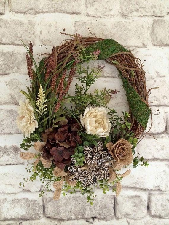 Neutral Wreath Silk Fl Front Door Spring Outdoor Grapevine Everyday Year Round Moss