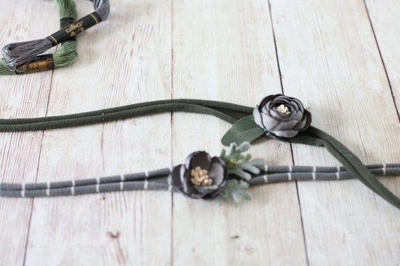 SET: Ready To Ship grey gray silver rosette neutral organic newborn tie back flower crown headband h #crownheadband